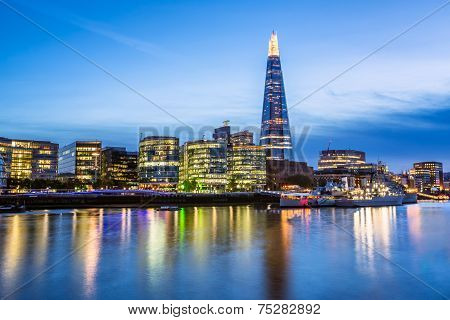 Thames River Embankment And London Skyline At Sunset, United Kingdom