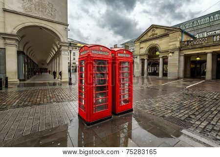 Red Telephone Box At Covent Garden Market On Rainy Day, London, United Kingdom