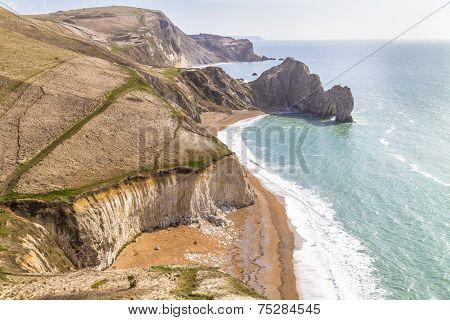 Dorset Coast, England, Overlooking Durdle Door