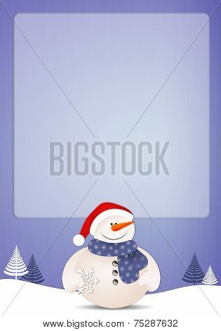 Funny Snowman With Snowflake