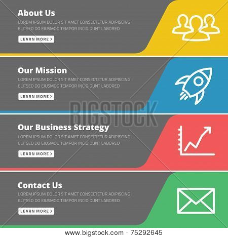 Flat design concept for website template - about us, our mission, business strategy, contact poster