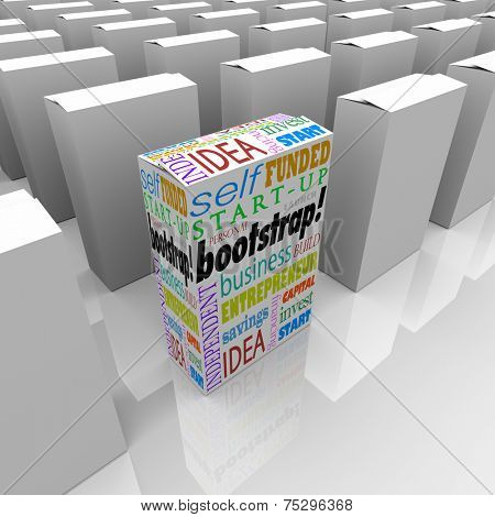 Bootstrap word on product package or box as a unique company or new business startup or launch among many established competitors
