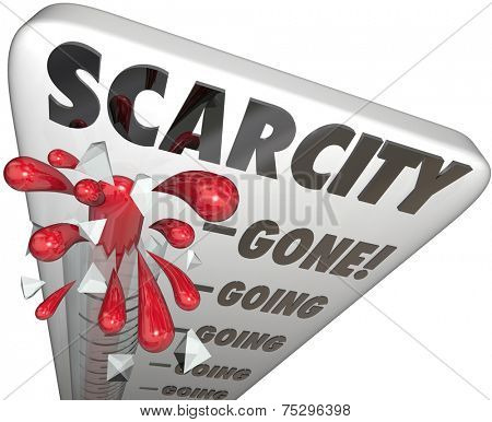 Scarcity word on thermometer measuring level of inventory or stock remaining for product in high demand but rare