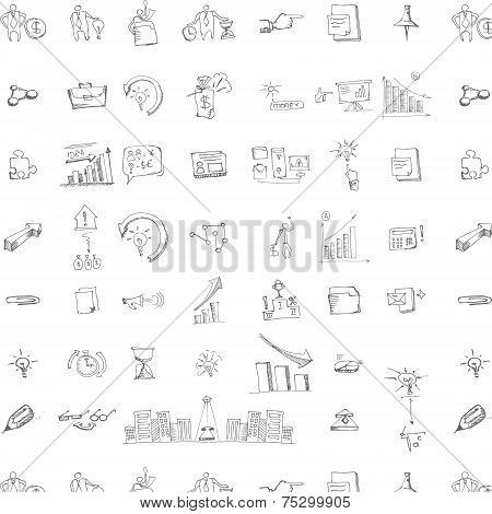 seamless doodle business pattern
