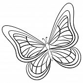 Vector, butterfly, hand-draw monochrome contours on a white background poster