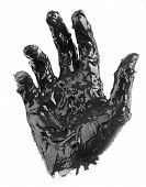 dirty hand isolated on a white background poster