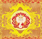 Creative illustration of Hindu Lord Ganesha portrait poster