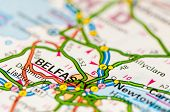 Close-up on Belfast city on map travel destination concept poster