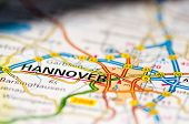 Close-up on Hannover city on map travel destination concept poster