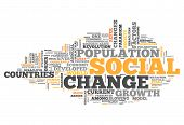 Word Cloud with Social Change related tags poster