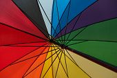 The inside of a rainbow umbrella, creating geometric shapes. poster