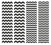 Tile vector chevron pattern set with black zig zag on white background for decoration wallpaper poster