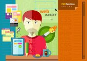 Professions concept with male web designer on workplace with tablet and different designer tools poster