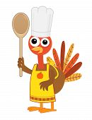 Cartoon turkey with chef hat, apron and a spoon. Eps10 poster