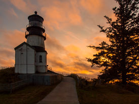 Cape Disappointment Lighthouse At Sunset On The Washington Coast Usa