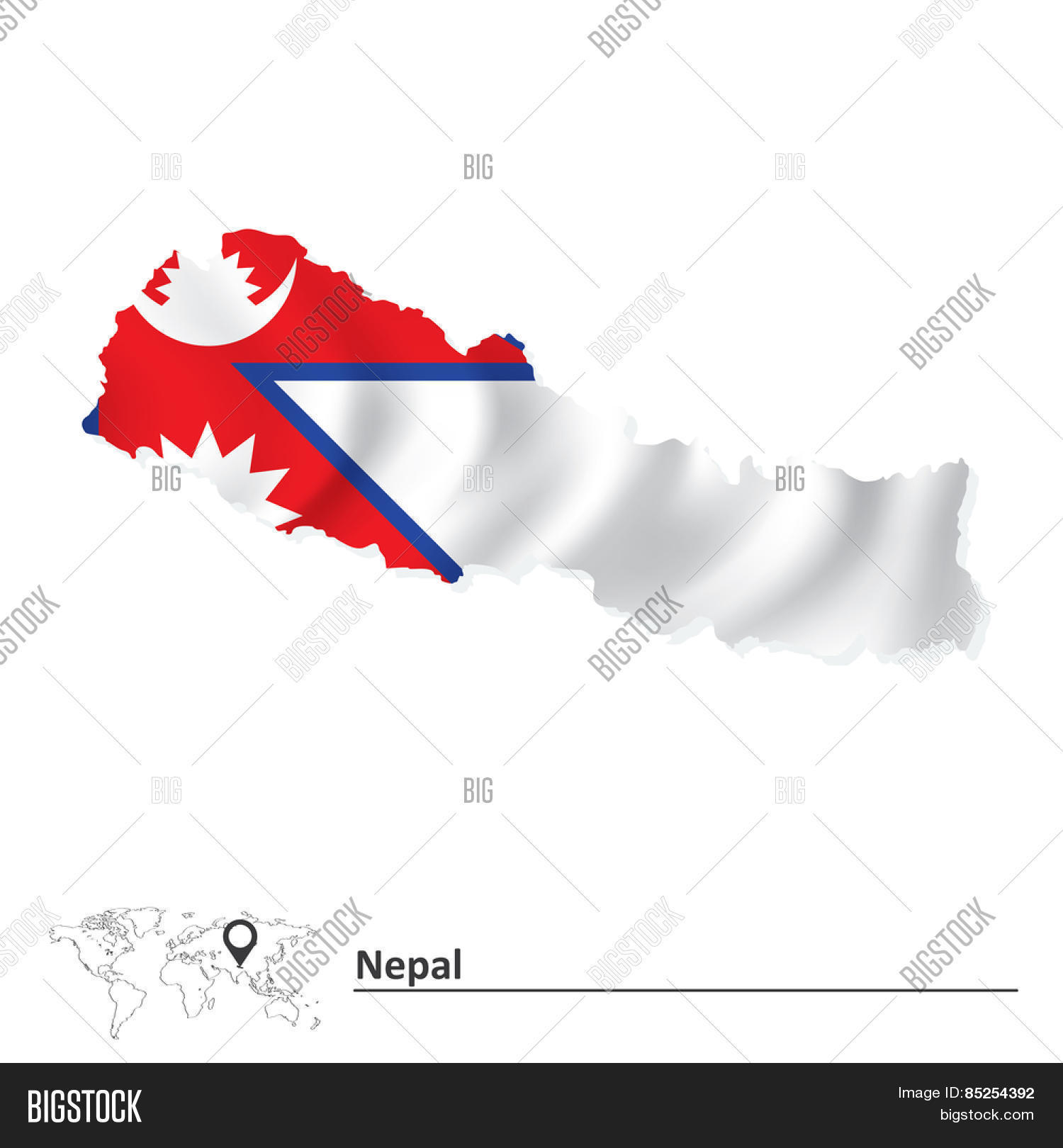 Map Nepal Flag - Vector & Photo (Free Trial) | Bigstock