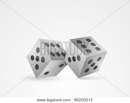 Glossy dice for casino concept on white background.
