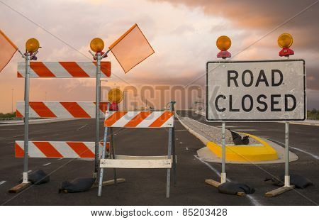 Road closed sign - new highway exit entrance