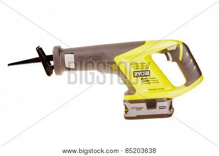 Hayward, CA - March 9, 2015: Ryobi 18 volt  Lithium battery powered reciprocating saw