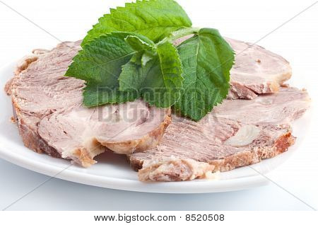 Cold Boiled Pork Decorated With Fresh Green Spearmint