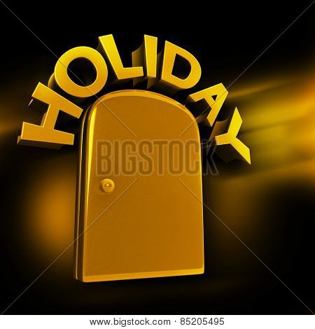 Golden entrance to luxury holiday concept 3d illustration