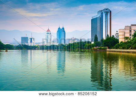 Fuzhou, China cityscape at West Lake.