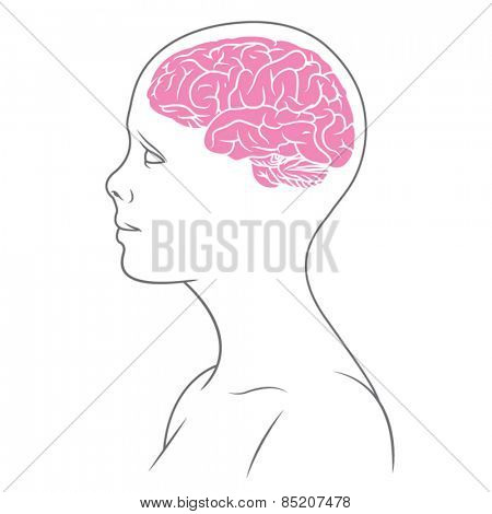 Illustration of female body with brain.