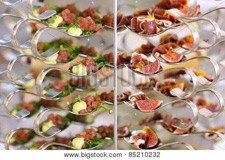Luxury food on wedding table. Shallow DOF