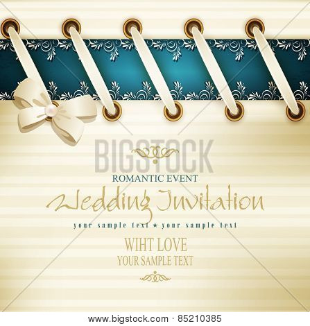 vector template for wedding background with lace, satin ribbon and lacing