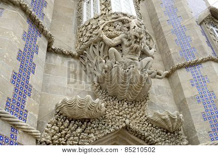 Stone carved under a window in Pena Palace, Sintra, Portugal.