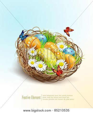 Vector Easter background with eggs and nest