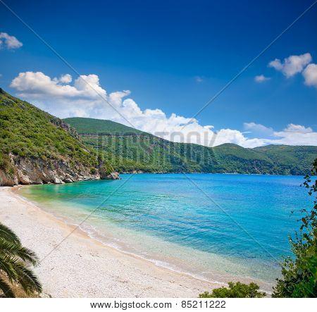 Beautiful Ag. Giannakis beach near Parga village, Greece.