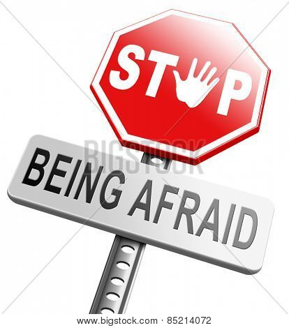 stop fear or being afraid for snakes height needles spiders darkness arachnophobia phobia psychological paralysis panic attack poster