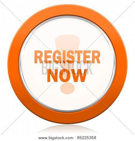 register now orange icon