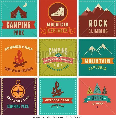 Hiking, camp badges, icons banners and elements