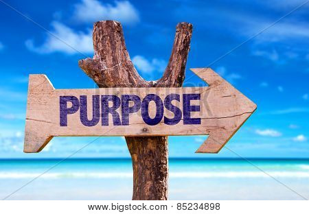 Purpose wooden sign with beach background