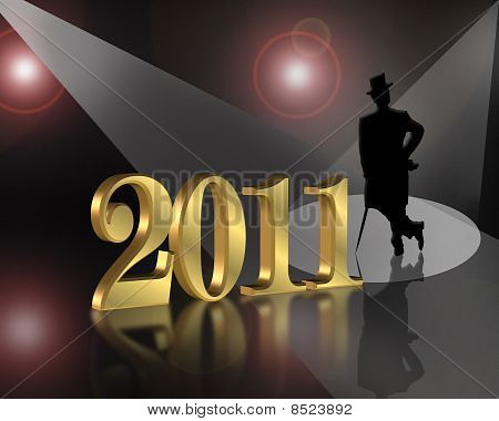 New Year 2011 background spotlight