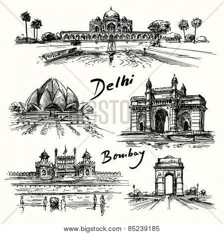 Delhi, Bombay - hand drawn collection