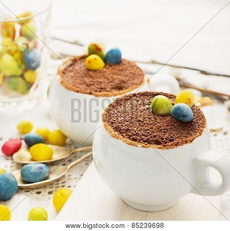 Easter cream dessert tiramisu based in portioned cups