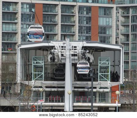 LONDON- 12 MARCH: People using londons newest river crossing, the emirates cable car, which crosses the river thames from greenwich to newham, and the excel centre, LONDON, 12 MARCH, 2015.