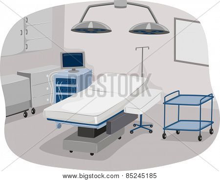 Illustration of an Operating Room Complete with Operating Table and Surgical Equipment