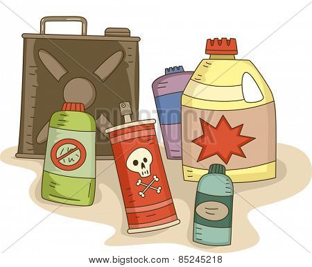 Illustration of a Variety of Pesticides in Different Containers