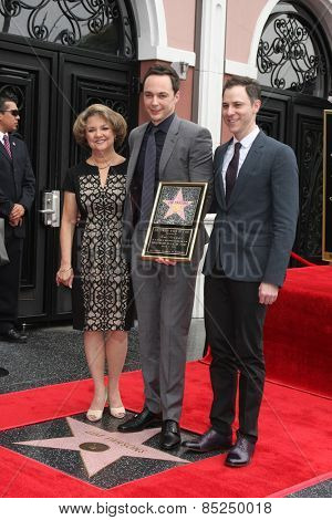 LOS ANGELES - MAR 11:  Judy Parsons, Jim Parsons, Todd Spiewak at the Jim Parsons Hollywood Walk of Fame Ceremony at the Hollywood Boulevard on March 11, 2015 in Los Angeles, CA