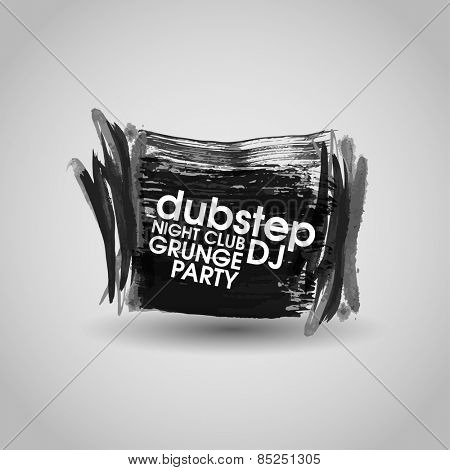 Grunge banner with an inky dribble strip with copy space. Abstract background for party. New creative grunge print for t-hirt, poster, brochure. night club paty