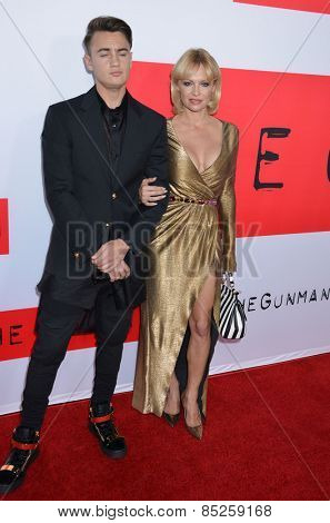 LOS ANGELES - MAR 12:  Brandon Thomas Lee, Pamela Anderson at the