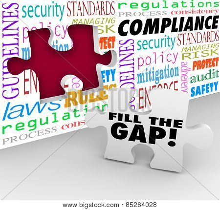 Fill the Gap words on a puzzle piece ready to be placed in a hole in a wall with words Compliance, guidelines, laws, regulations, security, process and more poster