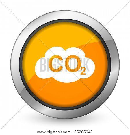 carbon dioxide orange icon co2 sign  poster
