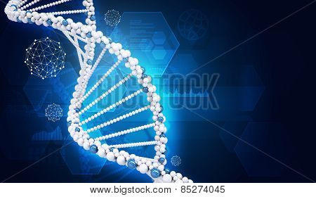 Human DNA. Background of hexagons