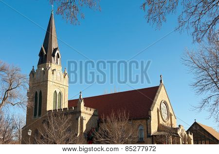 Church Steeple And Nave In Saint Paul