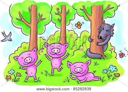 Three little pigs fairy tale